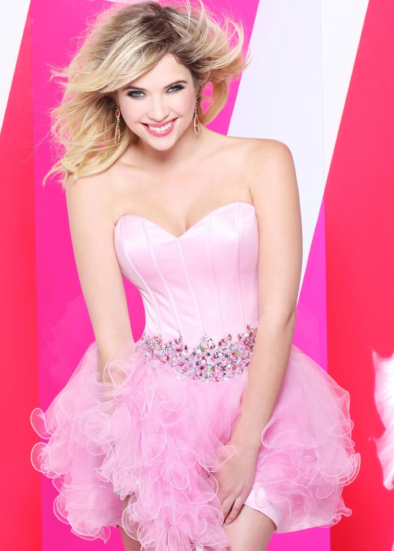 Ashley Benson wearing Faviana 7189 – Strapless Barbie Pink Short ...