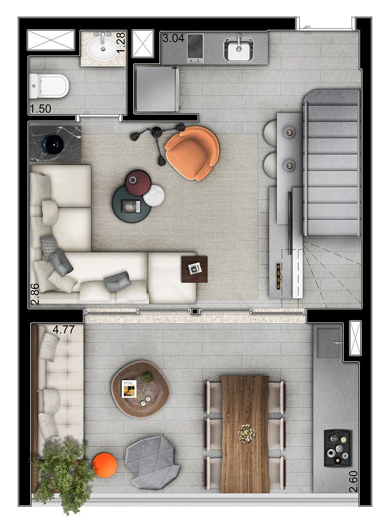 Planta do duplex pavimento inferior 55m ideas for Diseno apartamentos duplex pequenos