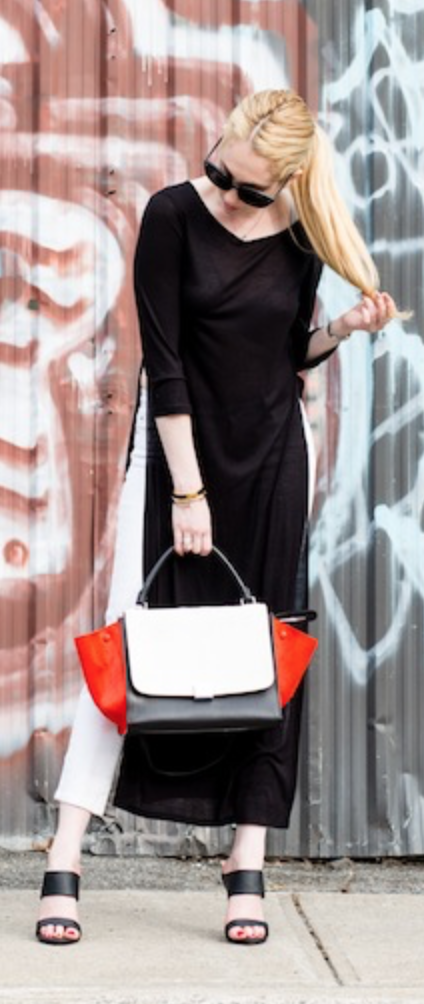 62636f534d4f Celine Tricolor Medium Trapeze bag in black orange white calf hair and  leather.