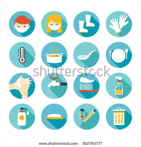 Health And Sanitation Flat Icons Set Cleanness Contagious