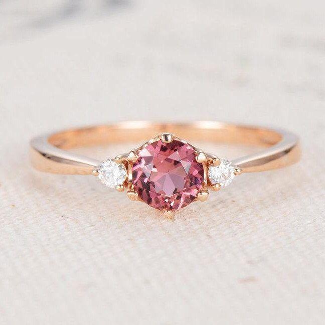 Tourmaline Engagement Ring Pink Rose Gold Three Stone Rubellite Women October Birthstone Wedding Unique Diamond Anniversary Gift Cer