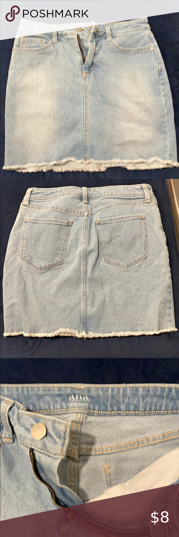 ANA blue jean skirt Blue jean skirt. Size 8. Gently used. Smoke free home. jcpenney Skirts Midi
