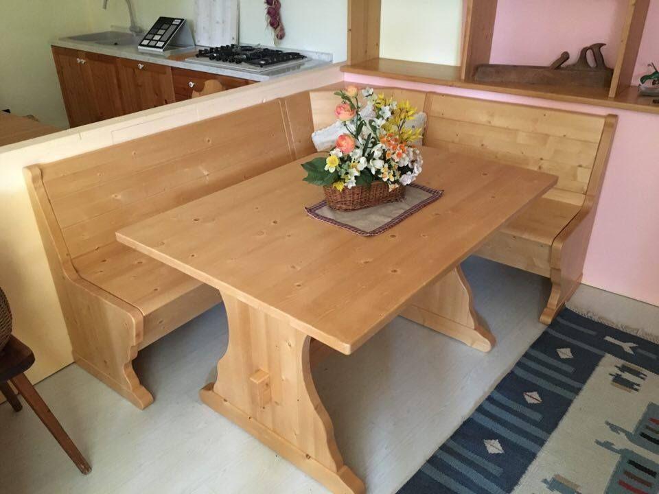 Tavolo Scandola ~ Giropanca in abete massello completo di tavolo finitura sabbia