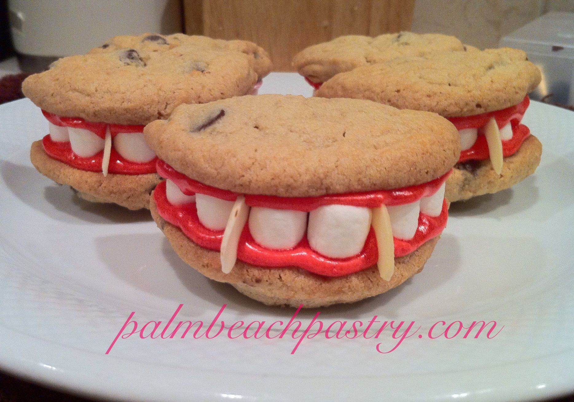 Vampire Teeth Fang Cookies Chocolate Chip Cookies With