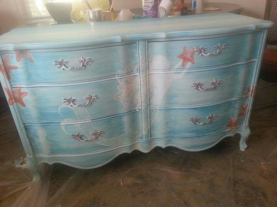 Mermaid Dresser Chair Paint, Little Mermaid Furniture