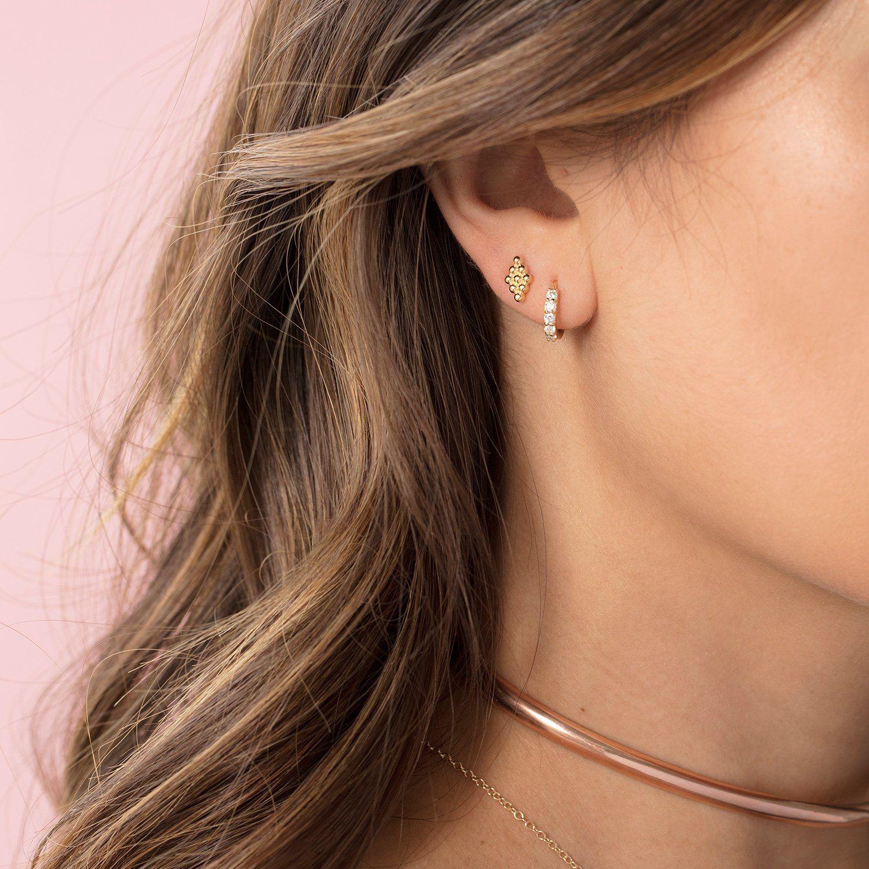 Earlobe piercing bump  Pave Huggie Hoop Earrings diamondhoopearrings  Forever Classic