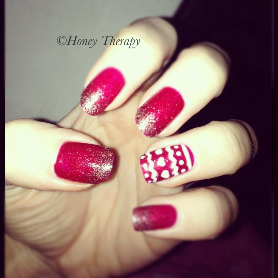 Christmas Shellac Nail Art Design Ruby Ritz And Fairisle Pattern