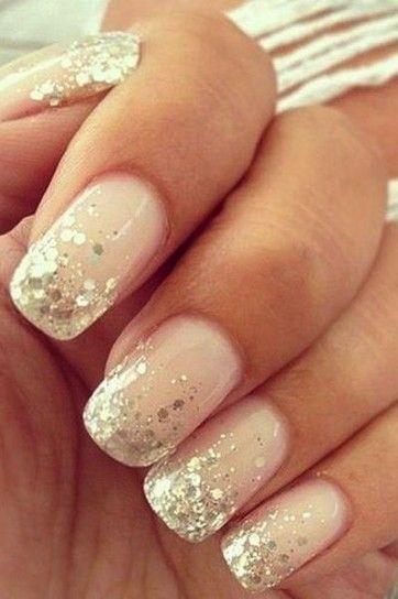 Nail art nude con glitter oro Unghie Da Matrimonio Glitter, Manicure Glitter,  Unghie Sposa