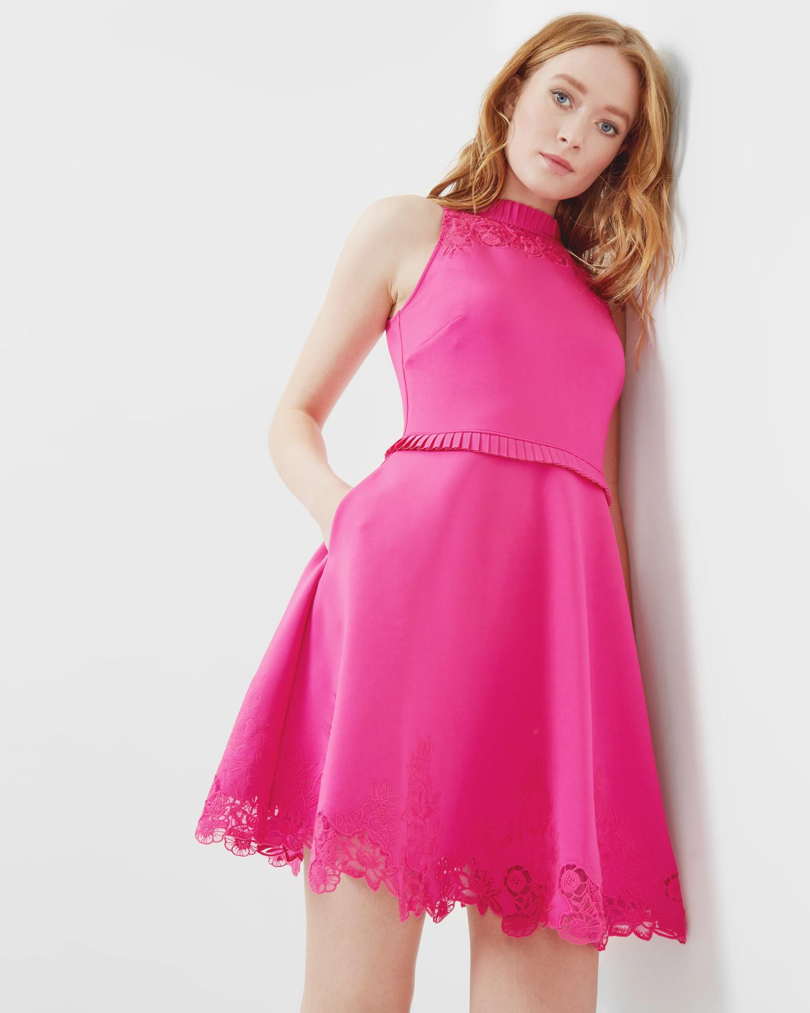 Embroidered ruffle skater dress - Fuchsia   Dresses   Ted Baker ...