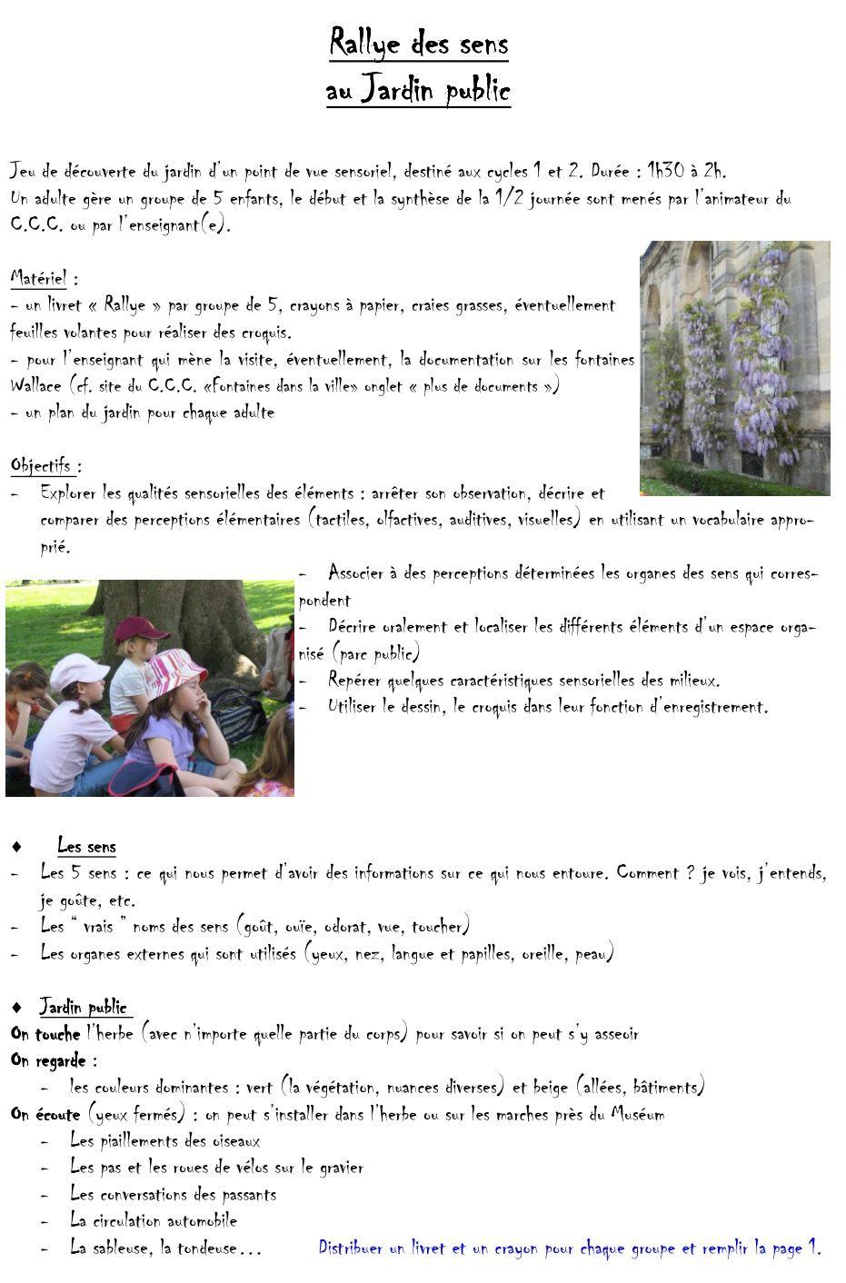 Parcours Pedagogique En Autonomie Le Rallye Des Sens Au Jardin