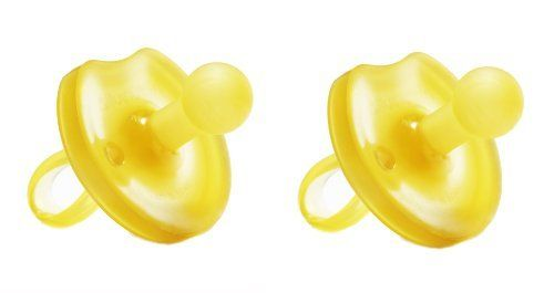 Natursutten 2 Pack BPA Free Natural Rubber Pacifier, Butterfly Rounded, 6-12 Months