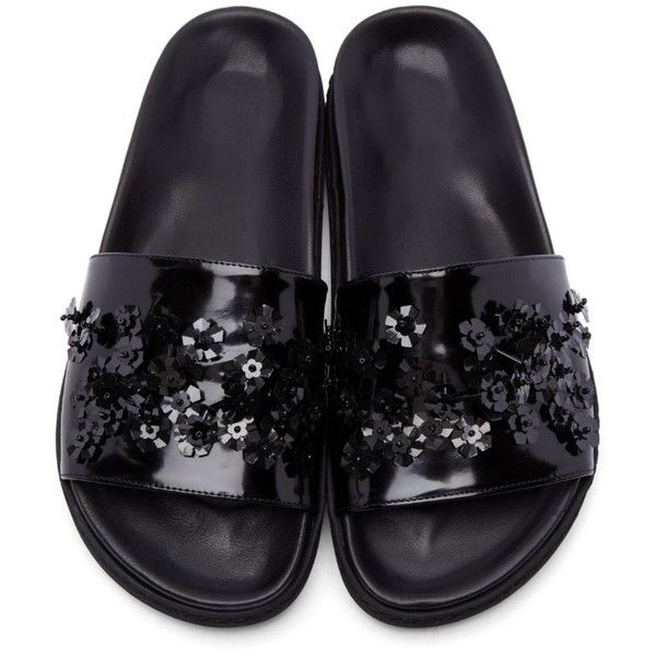 Simone Rocha Black Beaded Sandals ($680) ❤ liked on Polyvore featuring shoes, sandals, black leather sandals, leather sandals, slip on sandals, slip on shoes and strap sandals