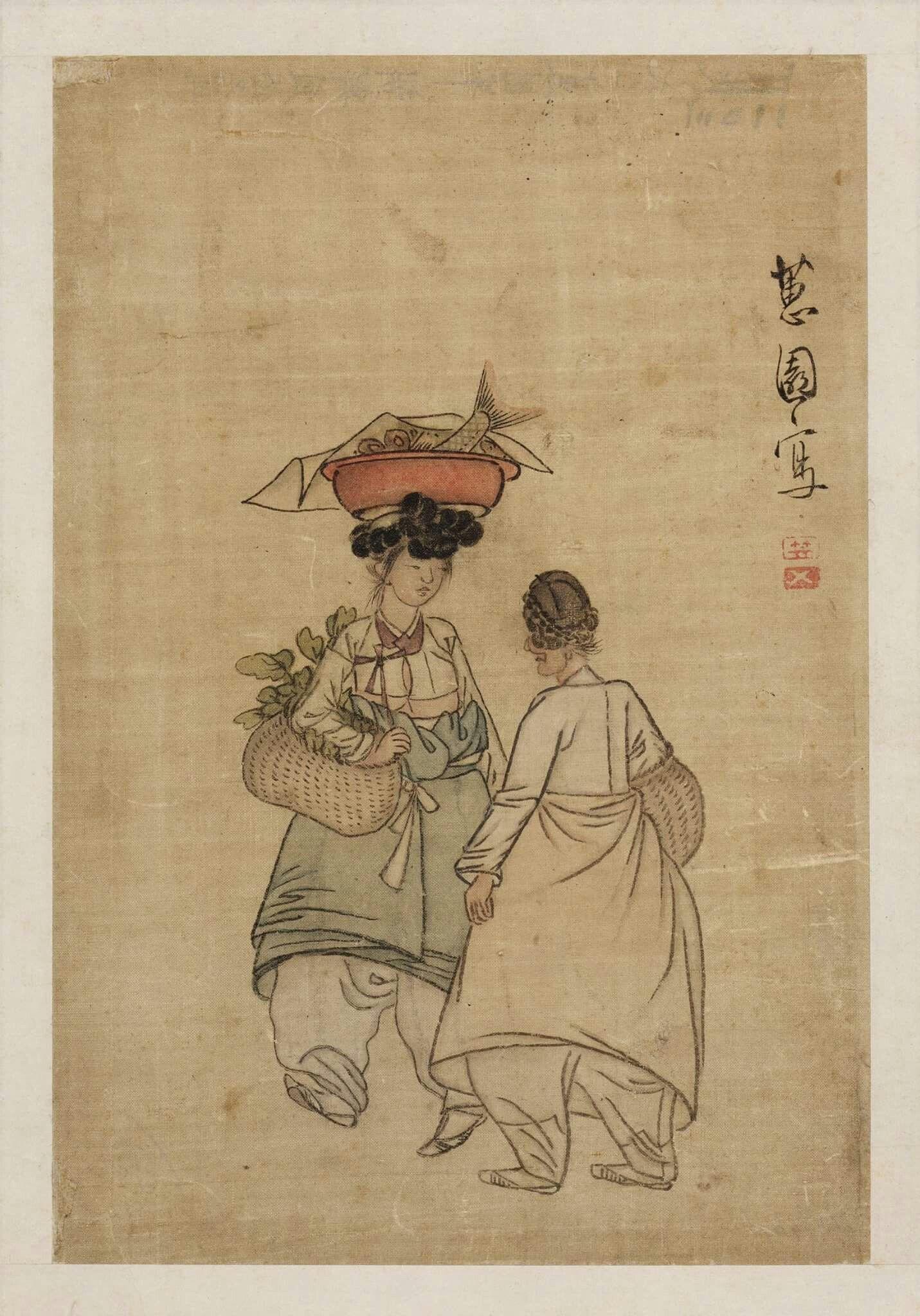 저잣길, 《혜원 신윤복》 Market Street  얹은머리 위에 생선 함지박을 이고 채소가 든 망태기를 옆구리에 낀 채 이야기하고 있는 여인을 볼 수 있으며, 이러한 장면은 신윤복(1758?-1817 이후)의 풍속화에서는 보기 드문 서민의 생활상이라 할 수 있다.  This is a genre painting by Shin Yun-bok (pen-name: Hyewon, 1758?-1817?), a famous painter of the late Joseon Period. A young woman is carrying a netted vegetable bag at her side and a wooden basket containing fish on her head, and is talking to an elderly woman. Such a scene of everyday life is uncommon in Sin Yun-bok's paintings…