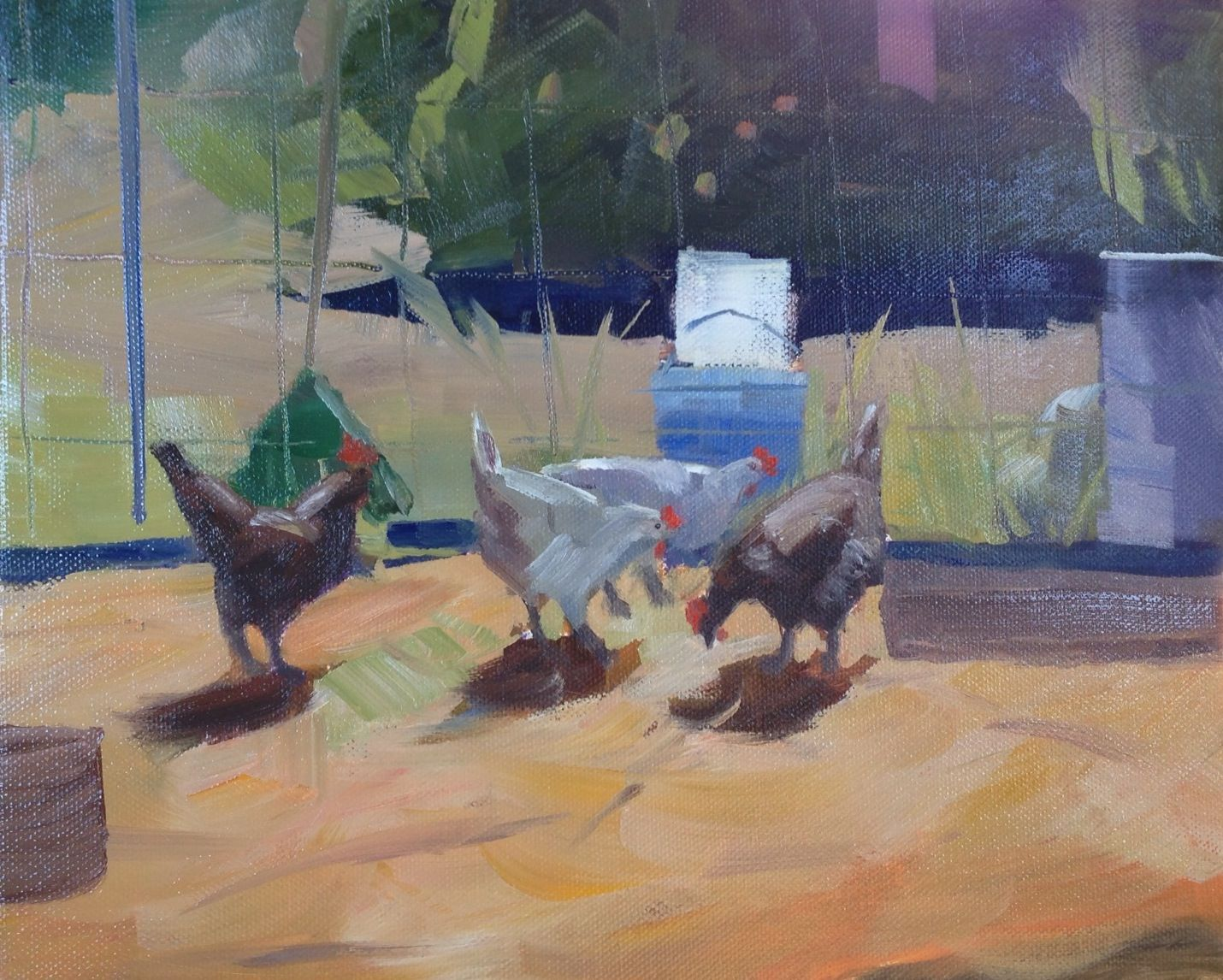 Oil painting workshop Chickens 95