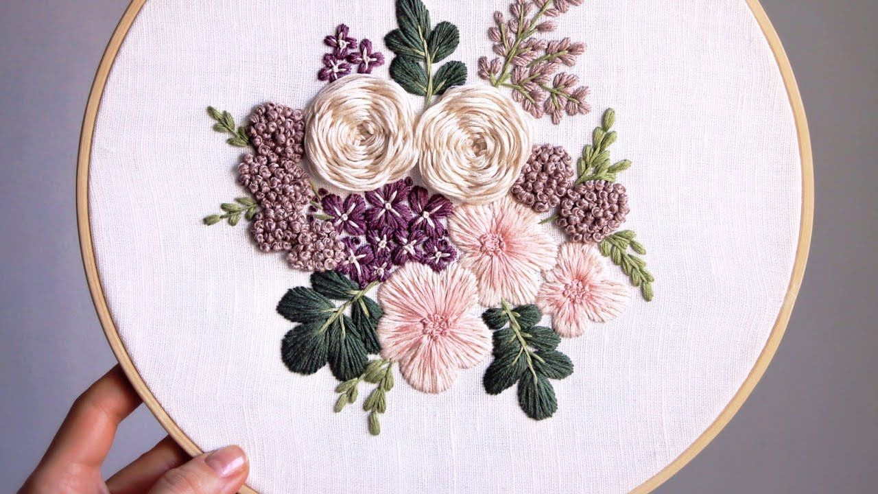 Purple Rain Pattern Embroidery For Beginners Youtube In 2020 Embroidery For Beginners Flower Embroidery Designs Etsy Embroidery