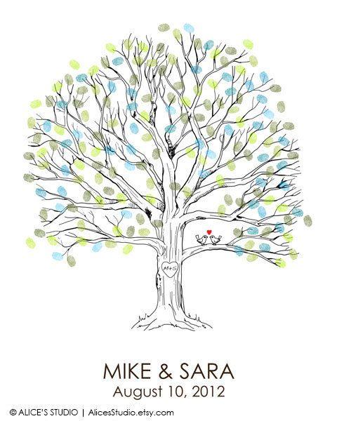 Canvas Wedding Tree Guest Book - Hand Drawn Fingerprint Tree Print ...
