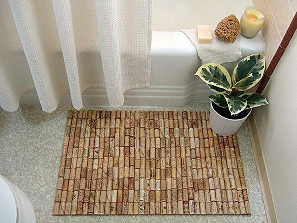 Diy Badezimmer diy teppiche korken fußmatten holz badezimmer pinteres