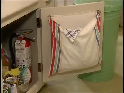 How to Create a Kitchen Laundry Bag #dishtowels