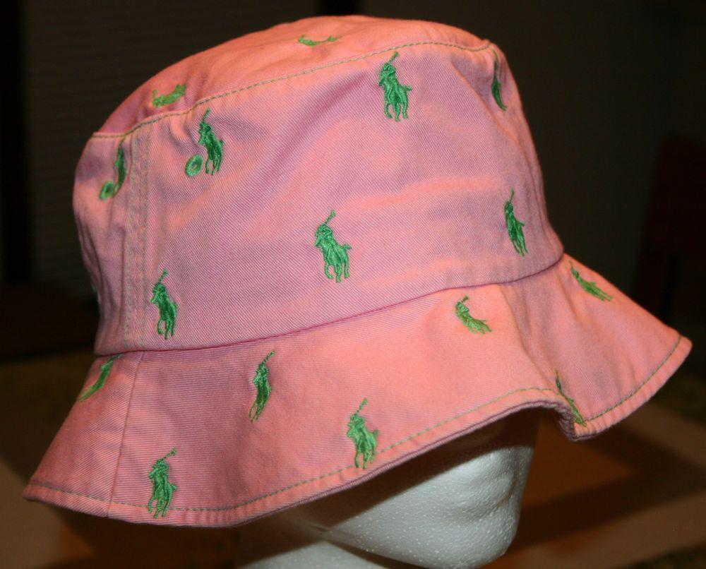 8cd51ba95c15a Polo Golf Ralph Lauren Pink green pony Bucket Hat Small Medium  beach surf sail