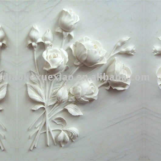 Hand Carved Round Marble Wall Mother And Baby Relief
