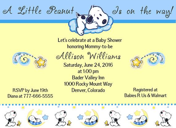 Baby Snoopy A Little Peanut Is On The Way Blue Pink Green Shower Invitations Babyshowersbykim