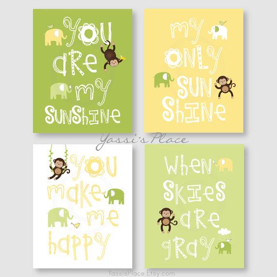 Monkey Art, Kids Wall Art, Nursery Decor, Boy, Girl, You Are My ...