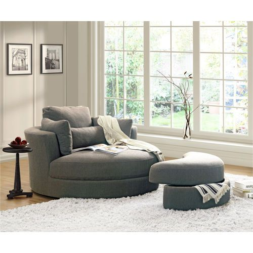 Turner Grey Cuddler Swivel Chair With Storage Ottoman 1200 Costco
