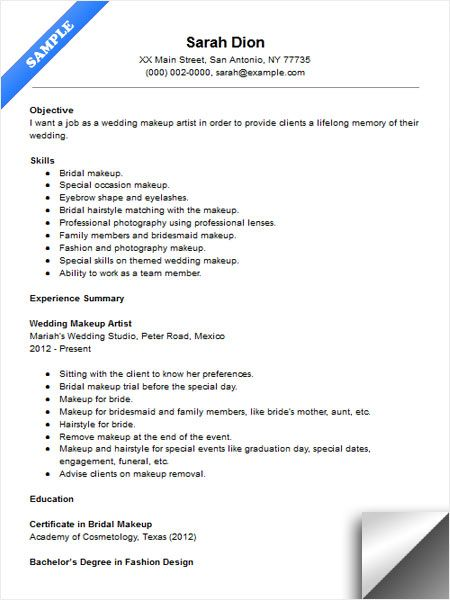 Wedding Makeup Artist Resume Sample  Resume Examples