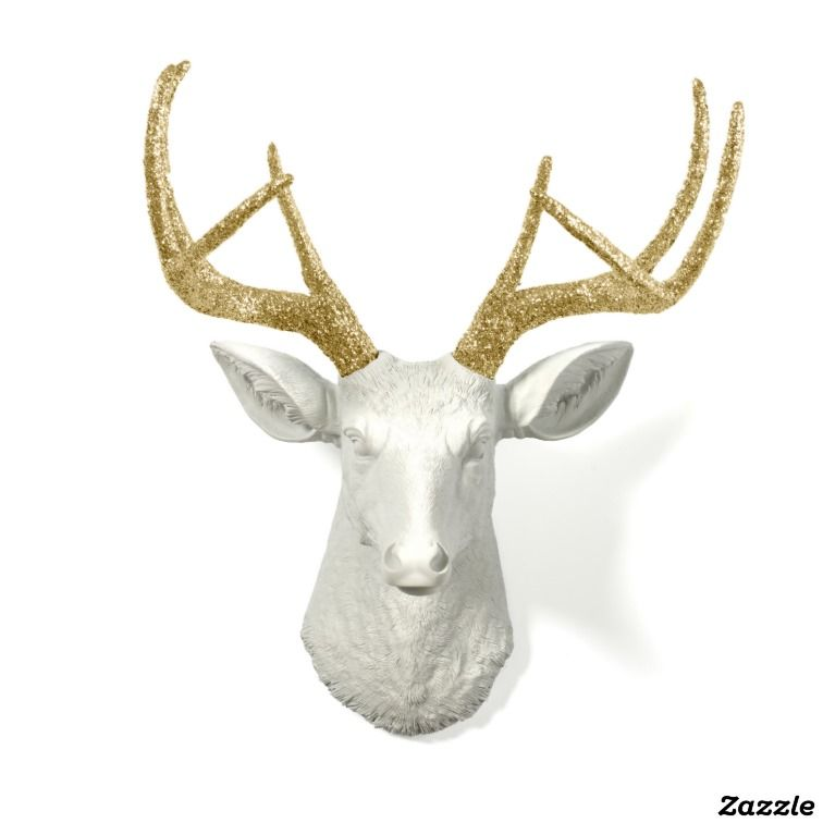 The Winston by White Faux Taxidermy #weird #homedecor #taxidermy #deerhead #deer #hunting #cabin #decor #livingroom #zazzle #antlers #wtf #customize #walldecor