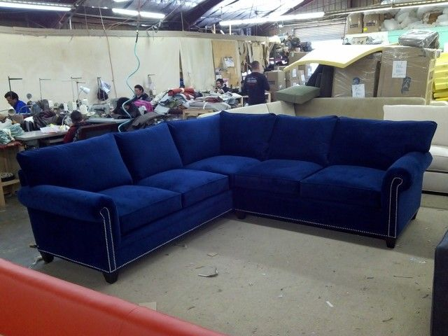 Another blue couch - I don't love the white ish trimming or metal detailing
