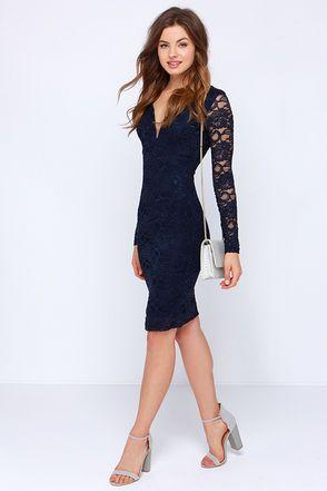 20bd83d1e10 Lovely Navy Blue Dress - Lace Dress - Midi Dress - Long Sleeve Dress -   47.00