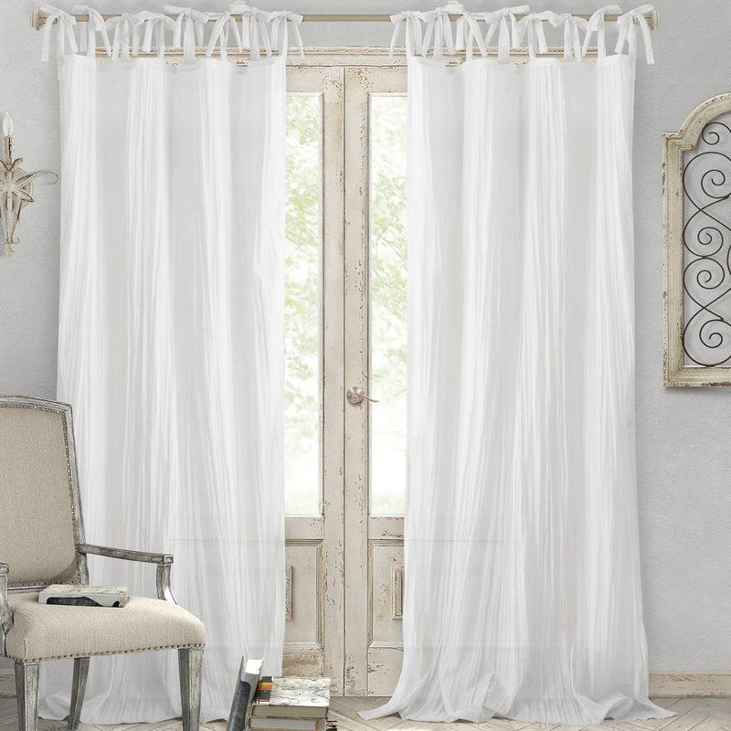 Hippolyte Solid Semi Sheer Tab Top Single Curtain Panel Tie Top