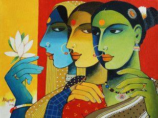 Gossip Artwork   Art, Indian art, Online painting