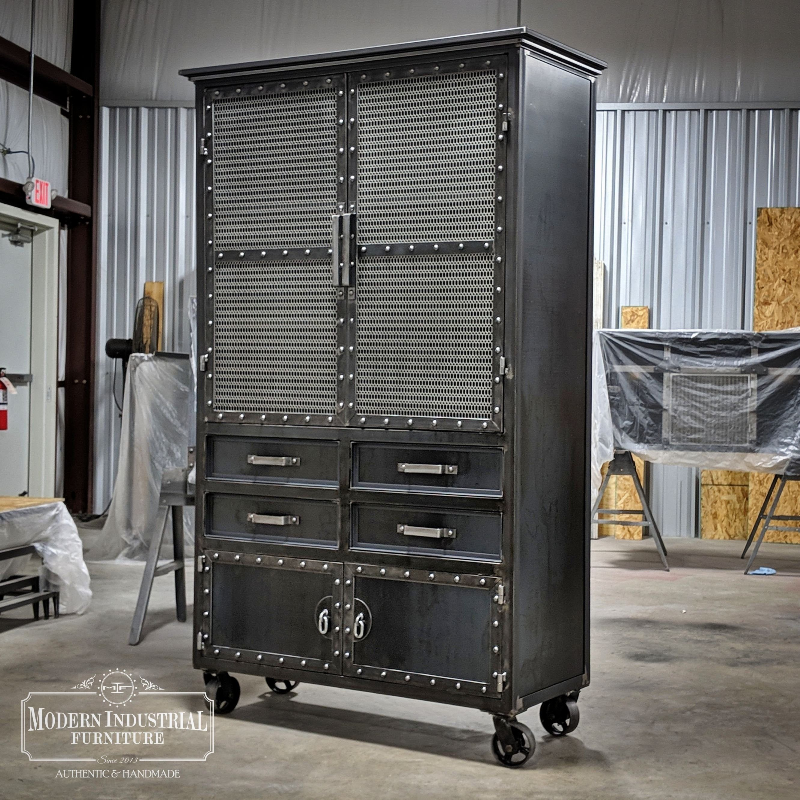 Modern Industrial Armoire Steel Locker Closet Vintage Industrial Cabinet Wardrobe Locker Storage Drankkast Meubels Interieur