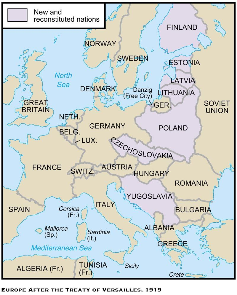 The Treaty Of Versailles Was One Of The Peace Treaties At The End - Europe map after world war1