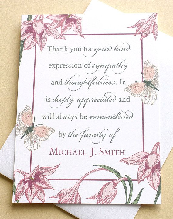 Condolence Thank You Cards With Flowers And Butterflies
