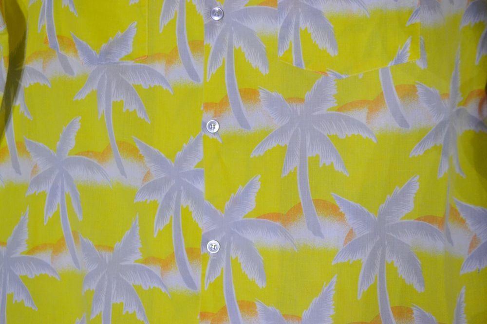 4c0d5023 TROPICANA Mens Yellow Hawaiian Shirt Large Palm Trees Orange Crescents  Tropical #Tropicana #Hawaiian