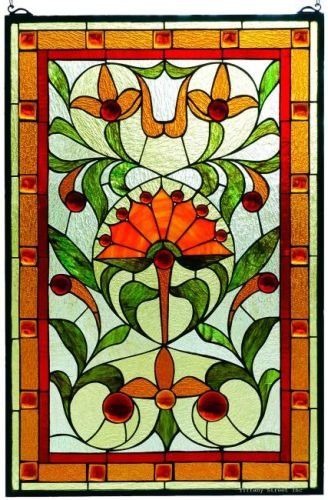 Stylized Fan Flower Tiffany Stained Gl Window Panel 30 Inches H X 20 W Check Out This Great Product