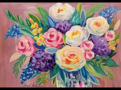 Easy Floral Impressionist Acrylic Painting Tutorial Live Beginner