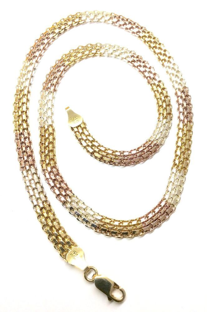 mm gold chain link chains byzantine classic mens yellow italian