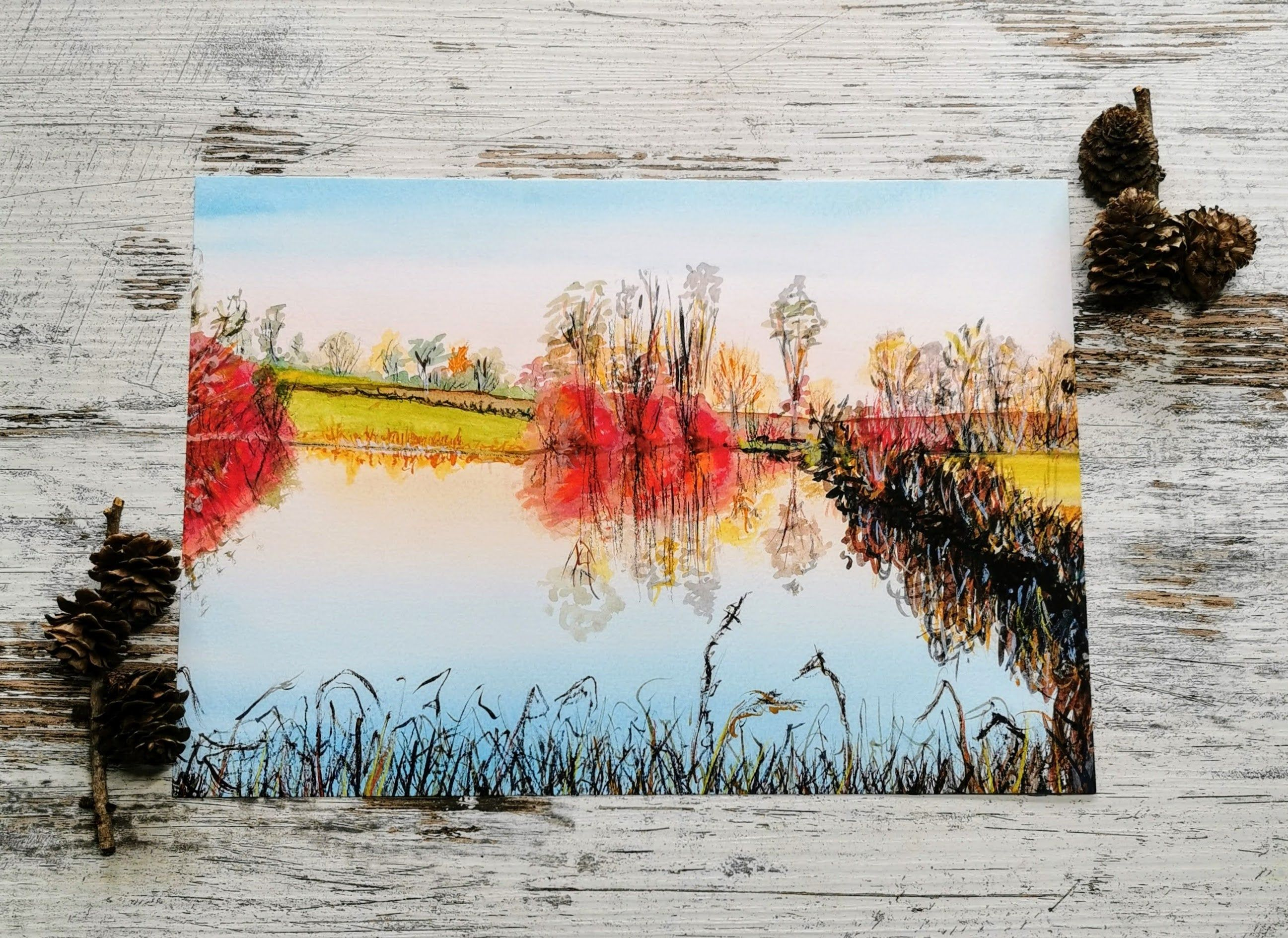English Countryside Landscape A4 Watercolor Fine Art Print Lakeside View Autumn Scene British Countryside Countryside Landscape Autumn Scenes Fine Art
