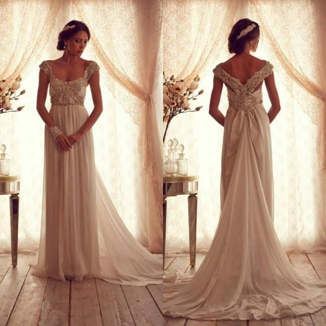 Wholesale Wedding Dresses - Buy 2015 Stunning Anna Campbell Wedding Dress V Neck Cap Sleeves Sweep Train Chiffon Beading Plus Size Bridal Gown, $136.65 | DHgate.com