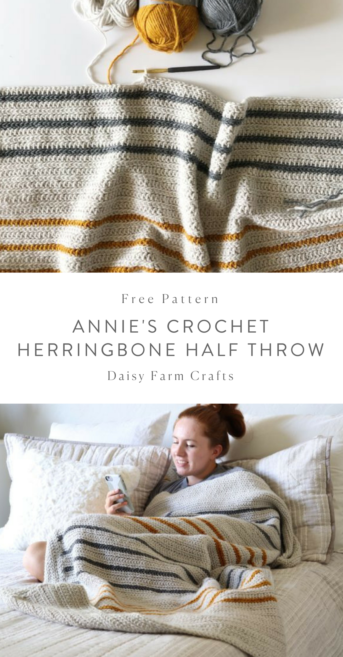 Free Pattern - Annie\'s Crochet Herringbone Half Throw #crochet ...