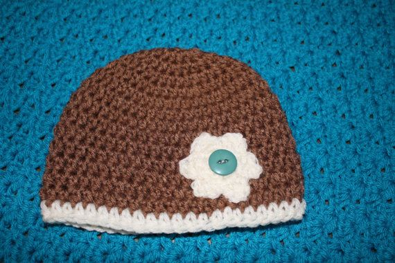 Crochet Newborn Brown Hat with White Flower by SweetBlessings28, $7.00