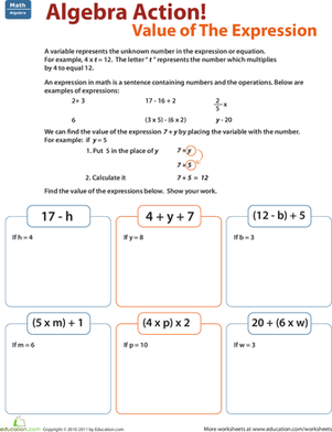 Find The Value Of The Expression Worksheet Education Com Math Expressions Algebraic Expressions Algebra