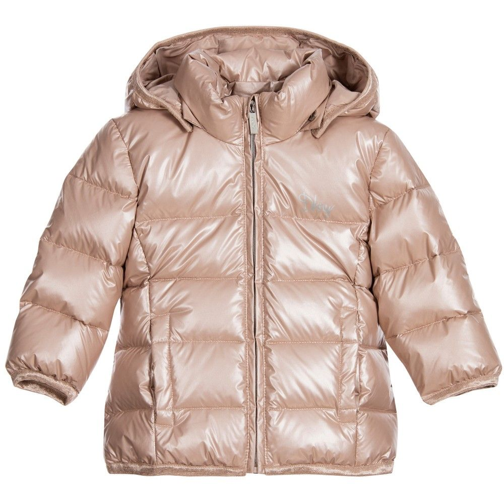 DKNY Baby Girls Pink Down-Padded Puffer Jacket with Hood ...