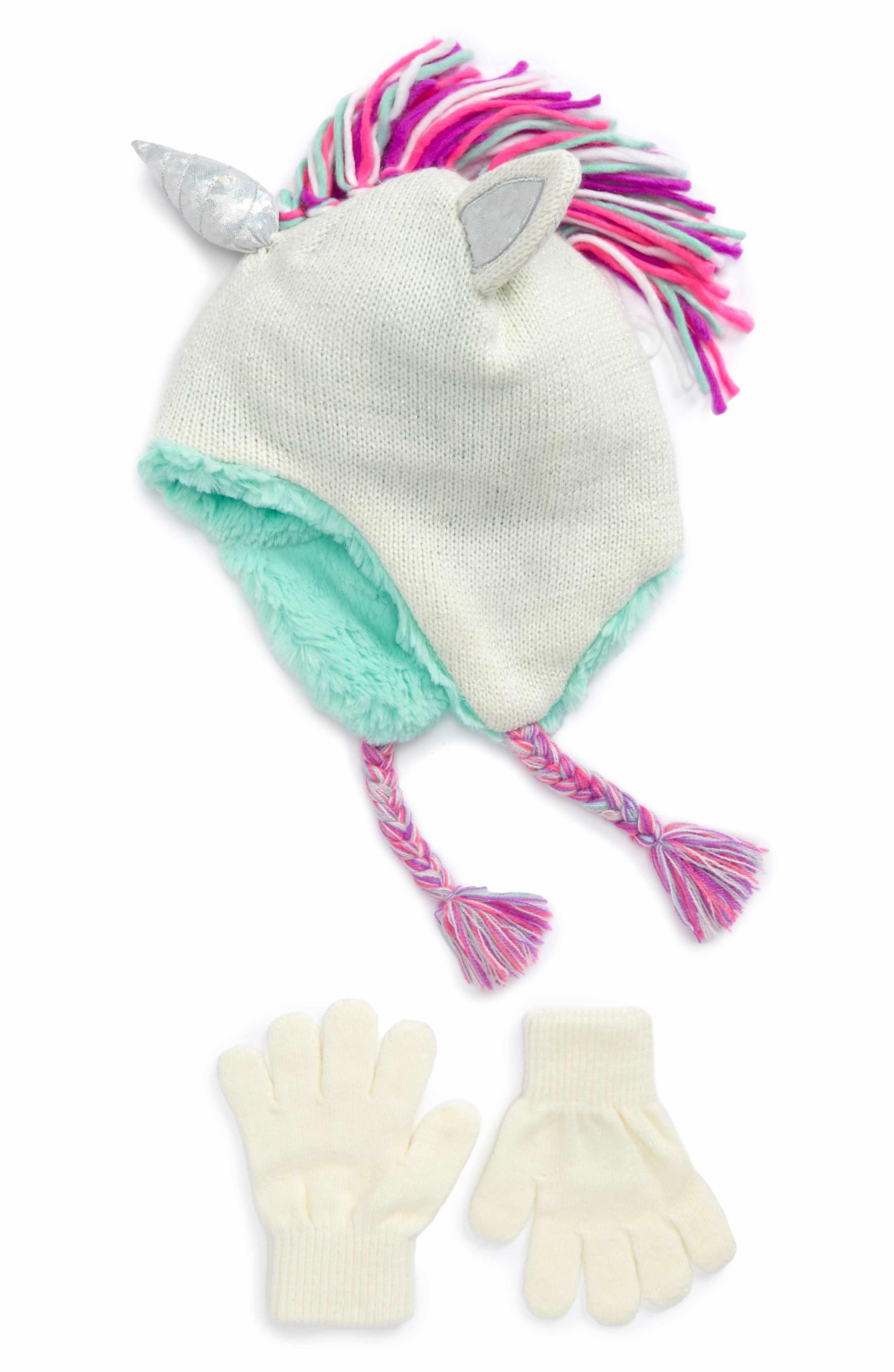 2a57a01f340 Main Image - Capelli of New York Unicorn Knit Hat   Gloves Set (Little  Girls   Big Girls)