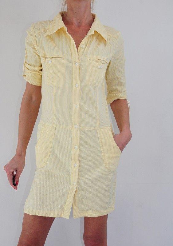1b207cef05 sukienka żółta w białe paski szmizjerka 34 Vila - Vinted