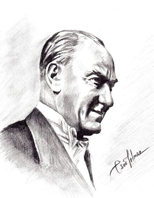 Ataturk Resimleri Buyuk Boy Karakalem Karakalem Ataturk Resimleri Resim Kara Kalem Portre Cizim