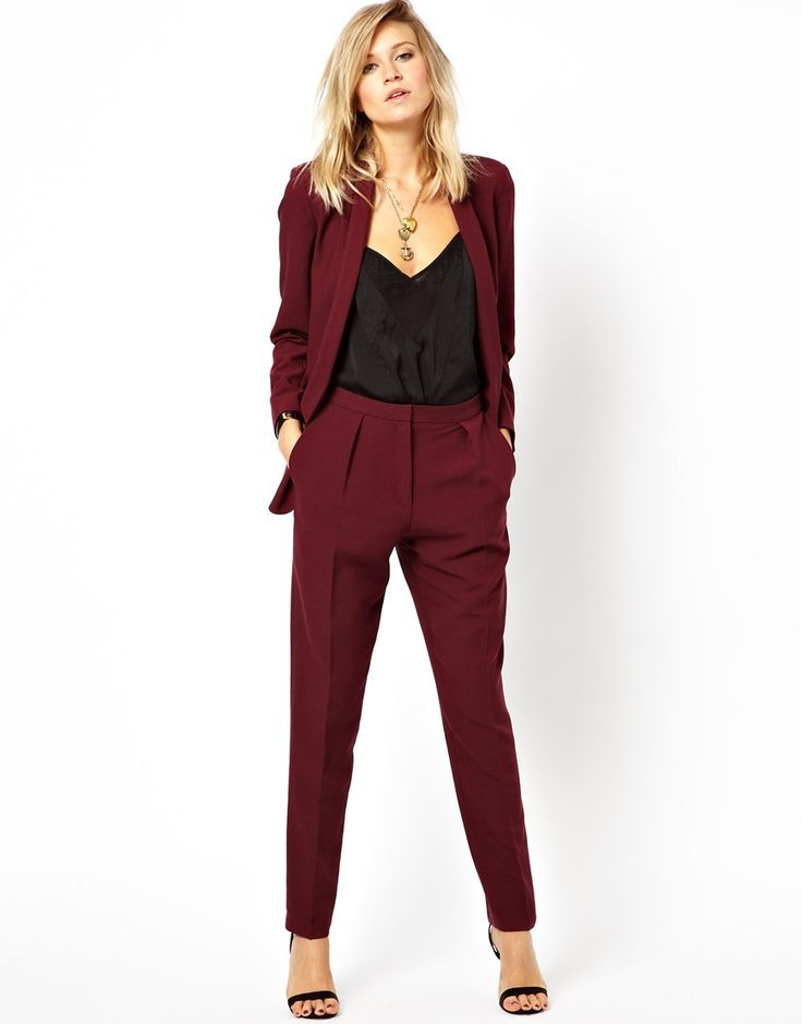 Busy Burgundy Red Ladies Suit Jacket